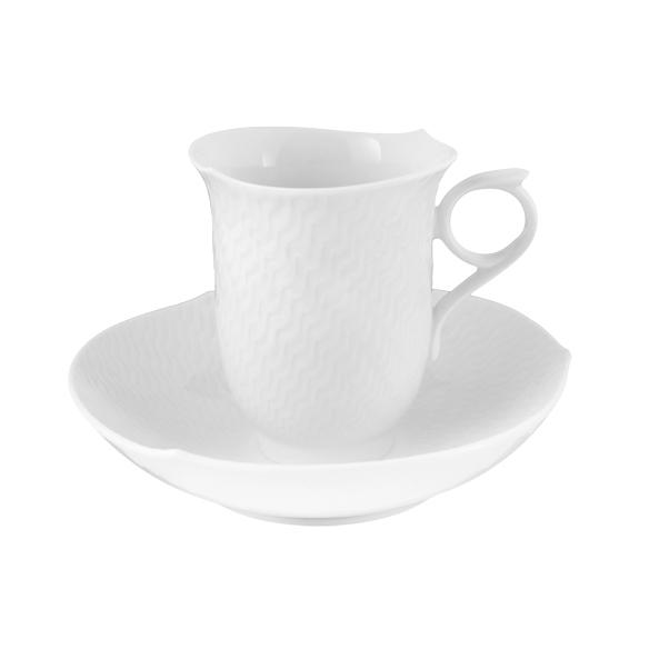 White Wave Relief Coffee Cup Saucer Elizabeth Bruns Inc
