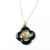Black and Gold Clover Necklace