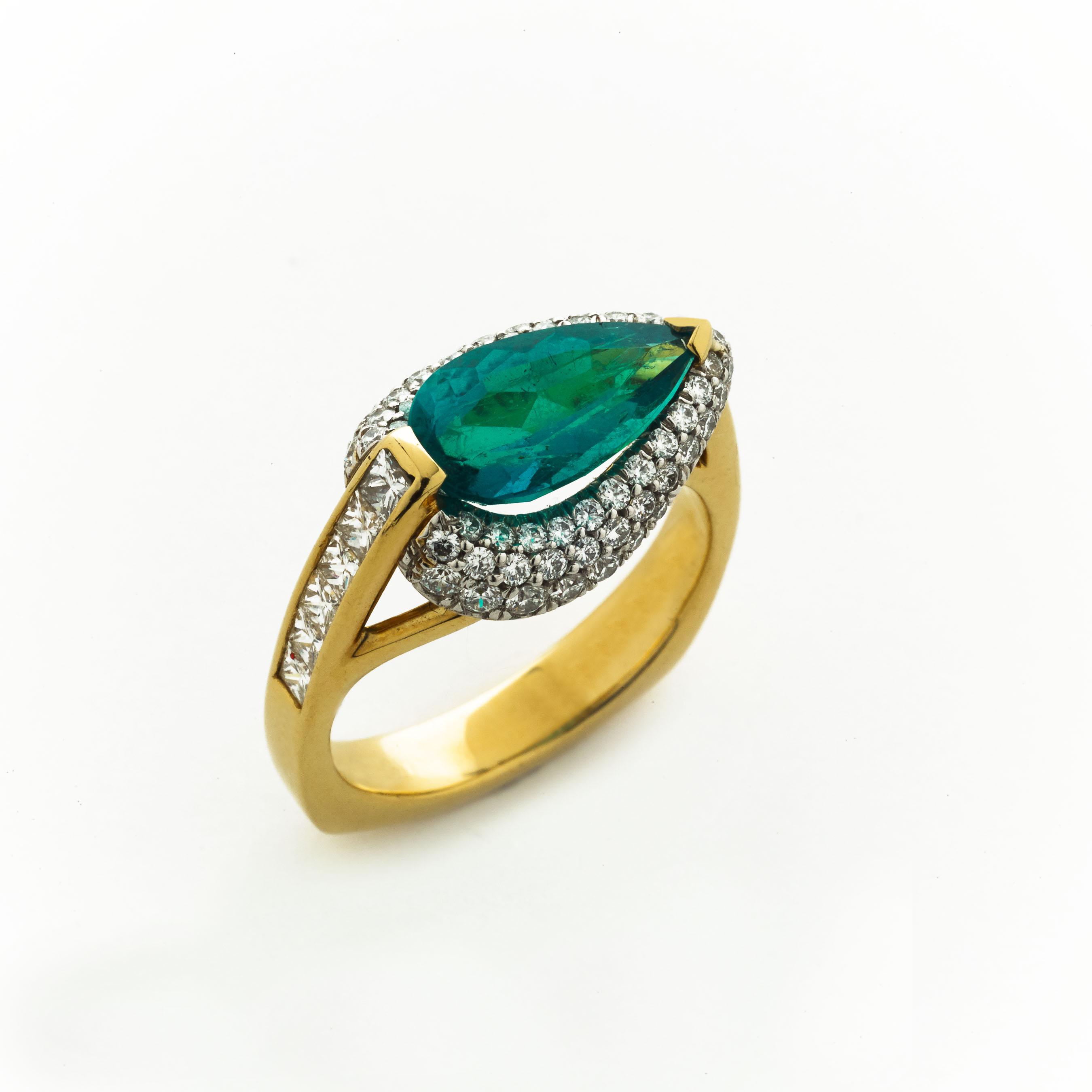 pear shaped emerald ring elizabeth bruns inc