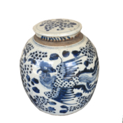 blue and white small jar with phoenix