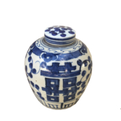 blue and white small ginger jar double happiness