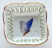 Small Square Butterfly Dish - Blue