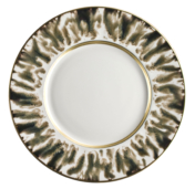 Cream Scale Gold Dessert Plate