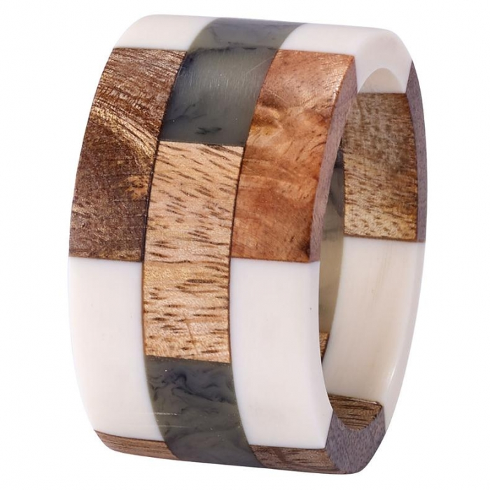 Patched Wood Napkin Ring