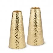 Hammered brass candlestick pair