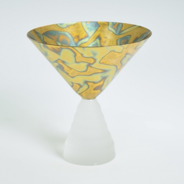 Dessert Glass Variegated Blue