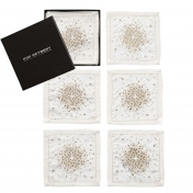 Starburst cocktail napkins white/Gold/silver