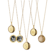 Monica Rich Kosann yellow gold petite bespoke locket with diamond