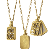 Monica Rich Kosann Gold Gate Frame Necklace
