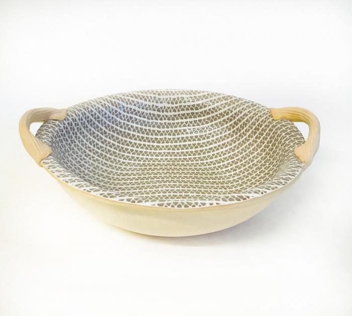 "9"" Vegetable Bowl with Handles Strata Mocha"