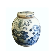blue and white large jar with flowers