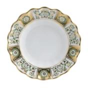Derby Panel Green Fluted Dessert Plate