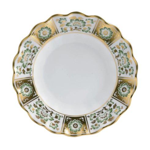 Derby Panel Green Fluted Dessert Plate