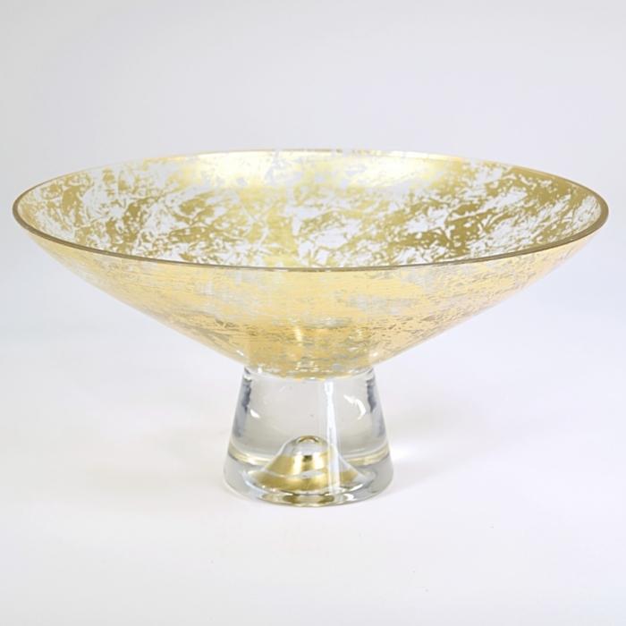 9 inch pedestal bowl gold wabi sabi