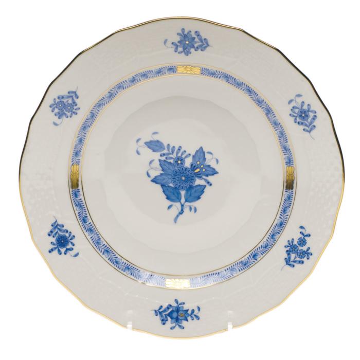 """Chinese Bouquet Blue Dessert Plate  8.25""""D"""