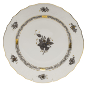 "Chinese Bouquet Black Dinner Plate 10.5""D"
