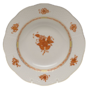 "Chinese Bouquet Rust Rim Soup Plate  8""D"
