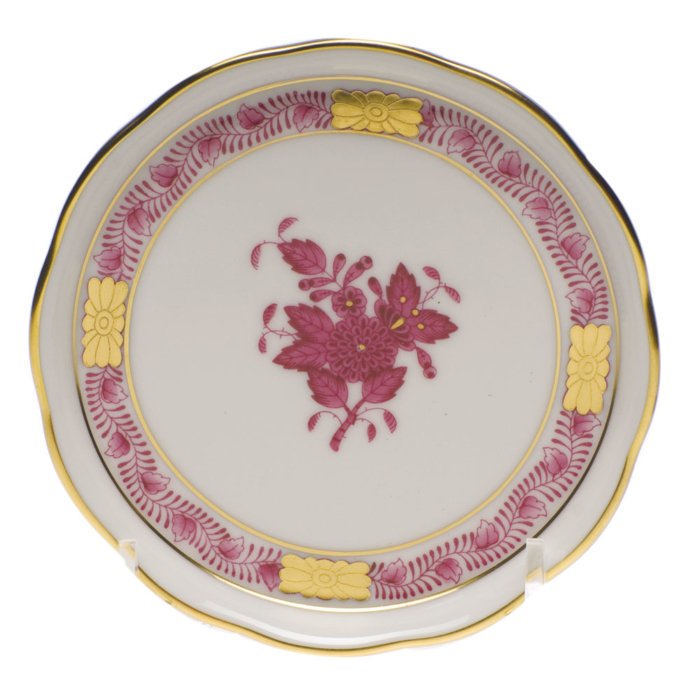 "Chinese Bouquet Raspberry Coaster 4""D"