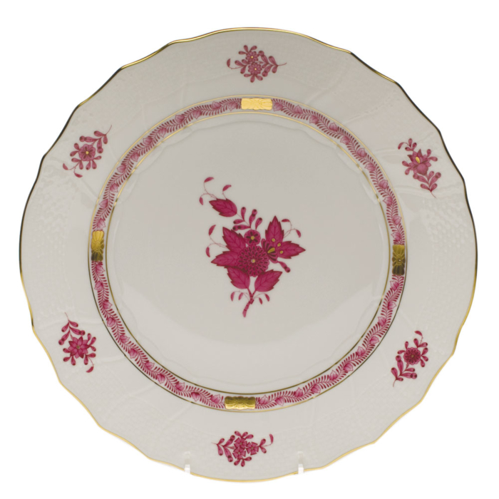 "Chinese Bouquet Raspberry Dinner Plate  10.5""D"
