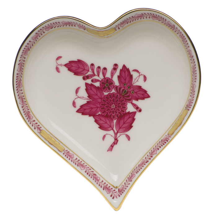 """Chinese Bouquet Raspberry Small Heart Tray  4""""L X 4""""W"""