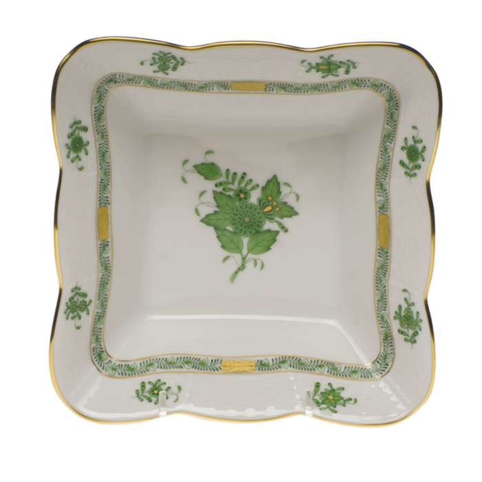 "Chinese Bouquet Green Square Dish 6.75""L X 2.5""H"