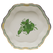 "Chinese Bouquet Green Fruit Bowl 5""D"