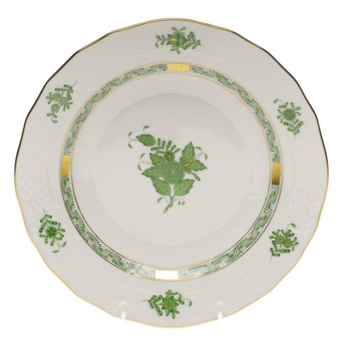 """Chinese Bouquet Green Dessert Plate  8.25""""D"""
