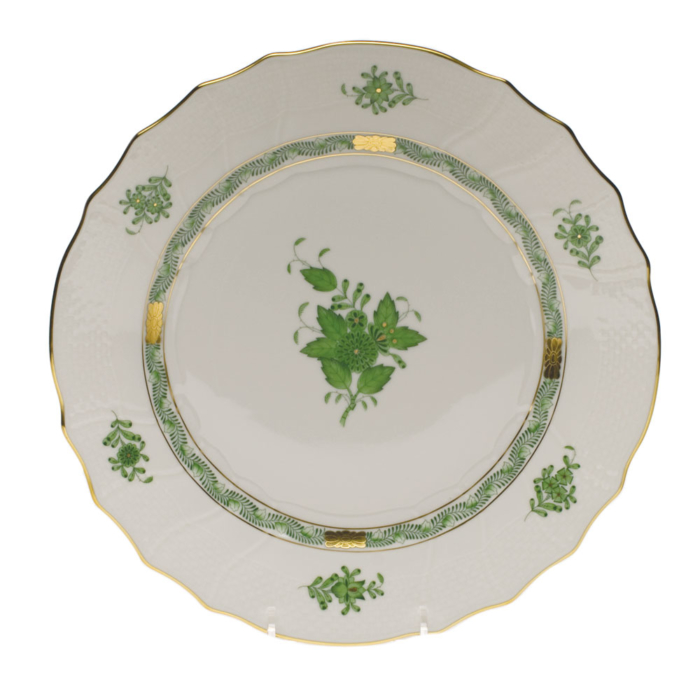 "Chinese Bouquet Green Dinner Plate  10.5""D"