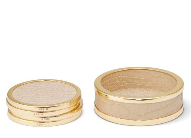 Aerin Colette Croc Leather Coaster Set of 4 Tan