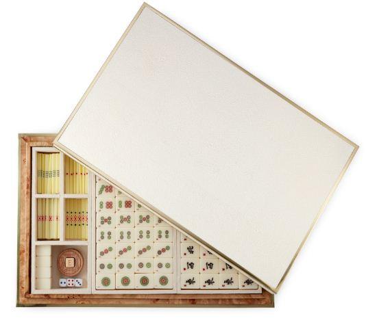 Aerin Shagreen Mahjong Set Cream