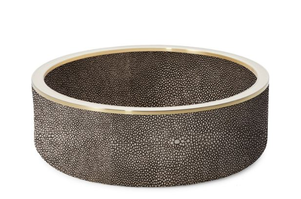 Aerin Shagreen Wine Coaster Chocolate