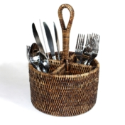 round utensil basket antique brown