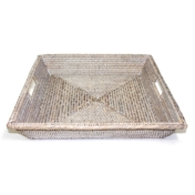 Matahari Square angle tray with cutout handles whitewash