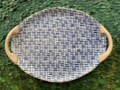 Small Oval with Handles Rattan Cobalt