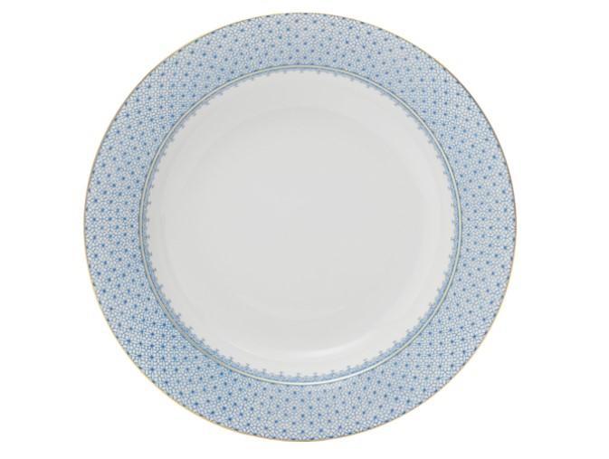 CORNFLOWER BLUE LACE RIM SOUP