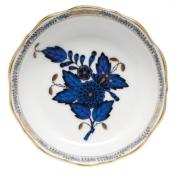 Chinese Bouquet Mini Scalloped Dish Black Sapphire