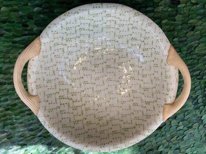 """9"""" Veg Bowl with Handles Maze Citrus"""
