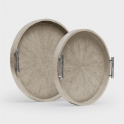 SMALL ROUND FAUX SHAGREEN TRAY IN SAND