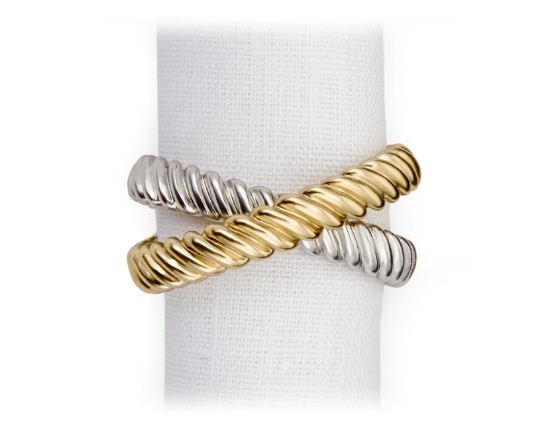 Deco Twist Napkin Rings, Set of 4