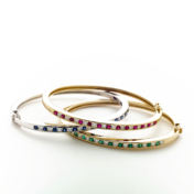 Ruby, Sapphire and Emerald Bangle Bracelets