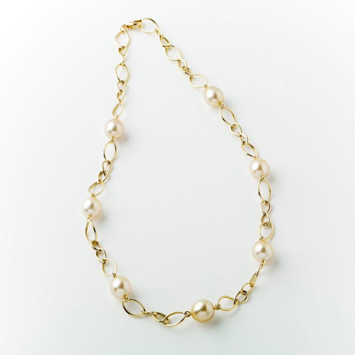 Gold Link and Gold Pearl Necklace