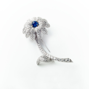 Sapphire and diamond flower pin