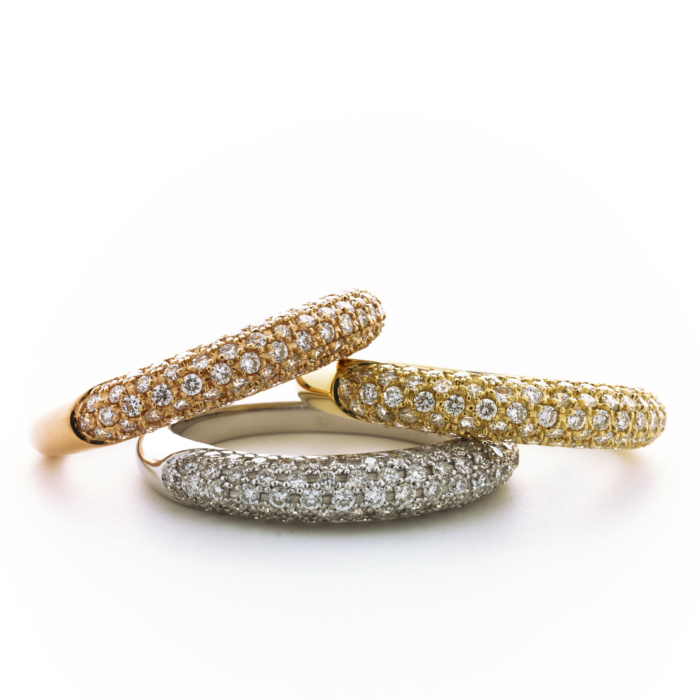 white, yellow and rose gold stack rings