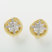 Brushed Gold and Diamond Earrings