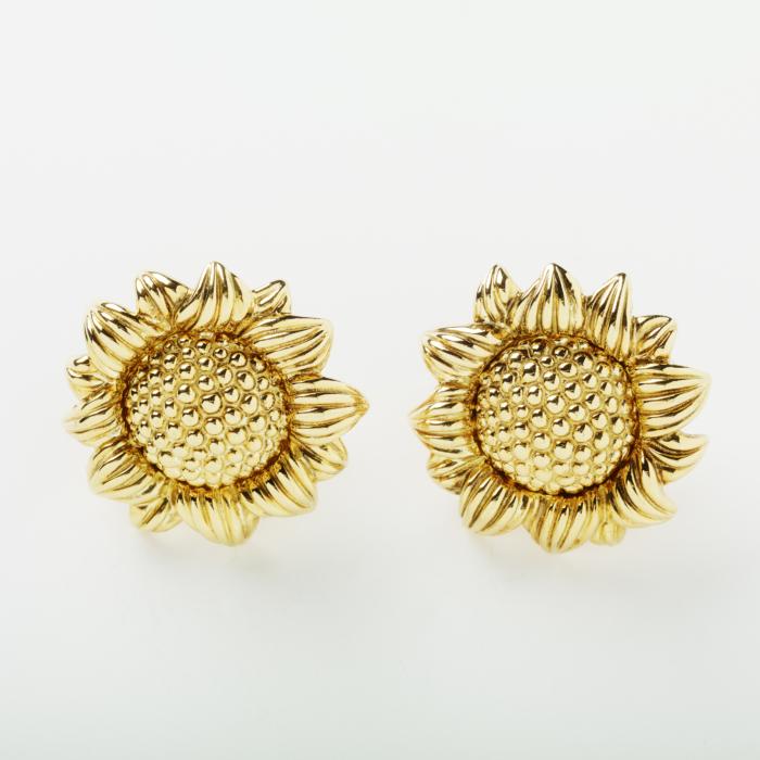 18kt Gold Sunflower Earring