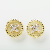 Gold and Diamond Button Earring