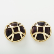 18kt Wood and Gold Earrings