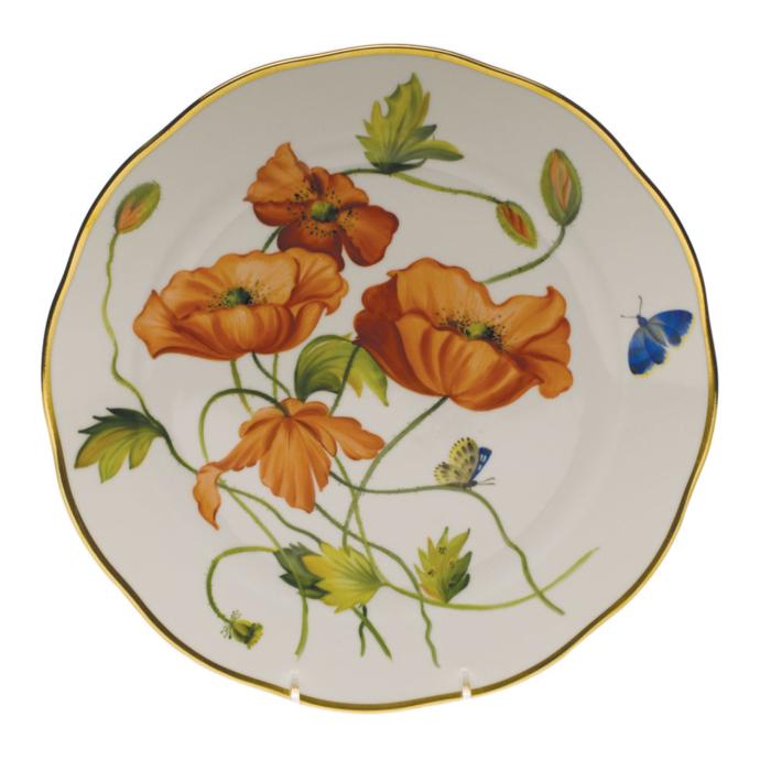 """Amer Wildflower-Po Dinner Plate - California Poppy  10.5""""D"""