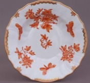 Rust and Cream floral and butterfly rim soup