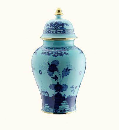 Ginori Oriente Italiano Iris Potiche Vase Covered
